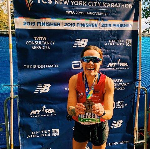 Tonje Pettersen fra Moss var strålende fornøyd etter helgens New York Maraton.