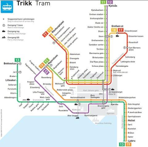 NYTT TRIKKEKART: Fra 4. oktober blir det nye trikketraseer på Ekebergbanen.