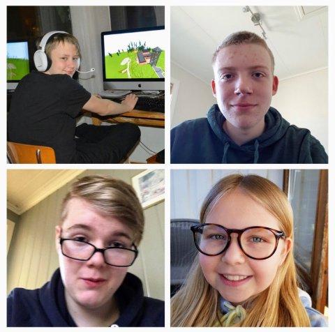 FLINKE BYGGERE: Albert Hvarnes Andersen, Markus Gundersen, Benjamin Næss og Sunniva Askjem Grung var noen av ungdommene som har bygd den digitale versjonen av Berg arbeidskirke.