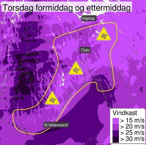 UVÆR OG VIND: På Østlandet har man hatt kraftige vindkast og sterk vind torsdag ettermiddag. Det resulterer i flere utrykninger for brannvesenet i distriktet.