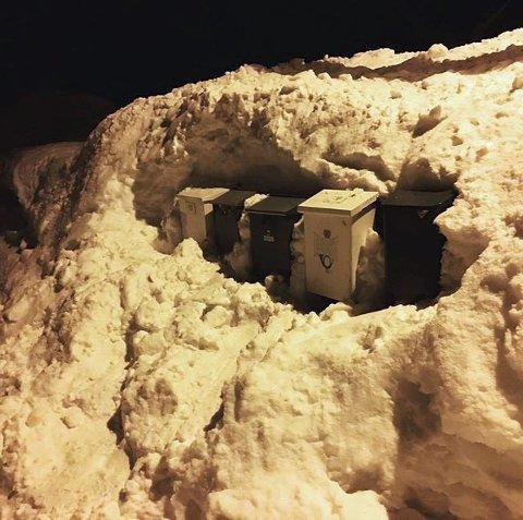 LUNT: Postkassene titter så vidt opp av snøen. Foto: Hilde Ågot Valleraune