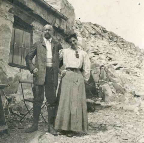 "Nyforlova Albert Petersson og Leonie ""Maus"" Witt på Gaustadtoppen i 1906. Foto: Frå A. Petersson si private samling - Kraftmuseet arkiv"