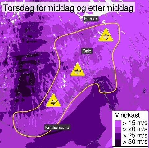 FAREVARSEL: Farevarselet omfatter nå både Agder og Østlandet og varsler vindkast opp i 20 meter i sekundet.