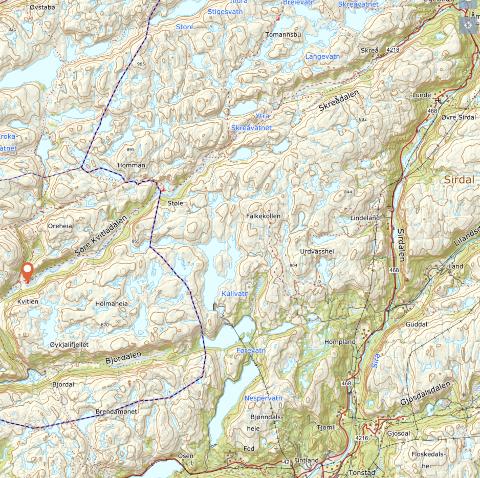 OMRÅDET: Skreå og Skreådalen ligger i Sirdal, turisthytta Støle turisthytte ligger på grensen mellom Sirdal og Bjerkreim og Kvitlen turisthytte (rødt merke) ligger i Bjerkreim