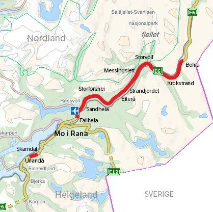 Helgeland nord er det første av i alt tre kontraktsområder for pakken E6 Helgeland. Prosjektet strekker seg over en vegstrekning på 125 kilometer, fra Korgen til Bolna. Kart: Statens vegvesen