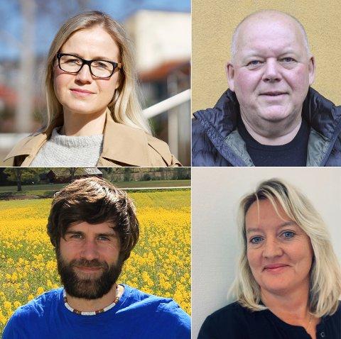 POLITIKERE OM TORGET: Linn Laupsa (Ap, øverst til venstre), Per Kristian Dahl (Pp), Simen Paulsen (MDG) og Ragnhild Hartvigsen Løchen (H) er glad for debatten og engasjementet rundt Torget og hva det skal brukes til.