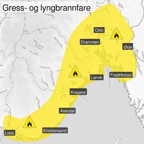 GULT FAREVARSEL: Meteorologisk institutt er ute med gult farevarsel for skogbrannfare i Agder, Vestfold og Telemark, Viken og Oslo. Foto: (Meteorologisk institutt/Yr)