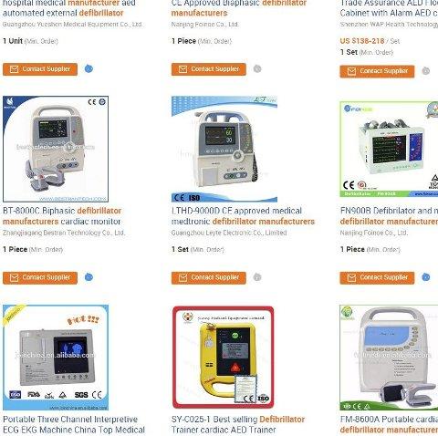 SElges på nett: Du kan få både billige og dyre hjertestartere på nett. Om det er en god ide, er en annen ting. skjermdump: google