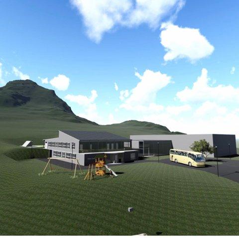 NY SKOLE: Slik ser Guds Menighet for seg den nye skolen på Nappskaret i Flakstad.  Illustrasjonen er hentet fra skisseprosjekt som er utarbeidet av tiltakshaver, og sendt Flakstad kommune.