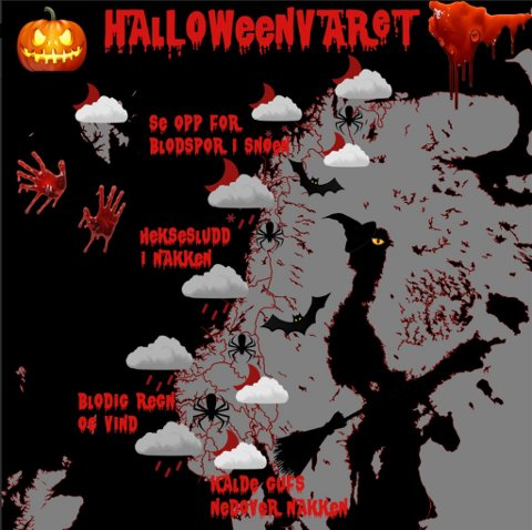 Slik blir Halloween-været. Illustrasjon: Meteorologisk institutt