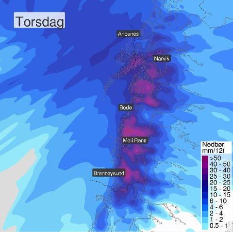 Meteorologene melder om ruskevær i Nordland torsdag.