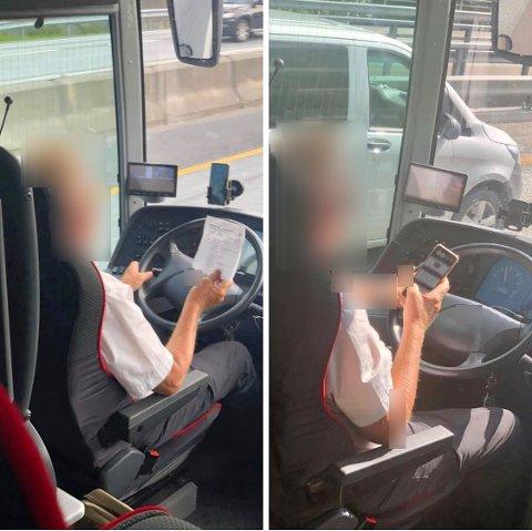 DISTRAHERT: Her blir bussjåføren både distrahert av mobiltelefonen og et stykke papir mens han kjører buss for tog på E18.