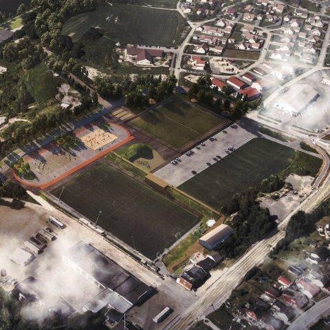 Dette er anlegget Torp If og lokalsamfunnsutvalget ser for seg på sikt. Den gule banen og gresstoppen litt under midten av bildet er det som skal bygges først. Legg også merke til at parkeringen flyttes.