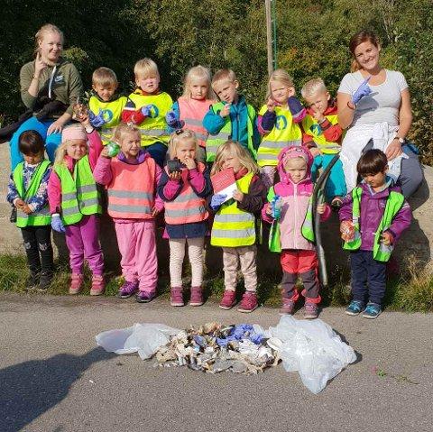MILJØAGENTER: Miljøagentene ved Fagerlund barnehage.