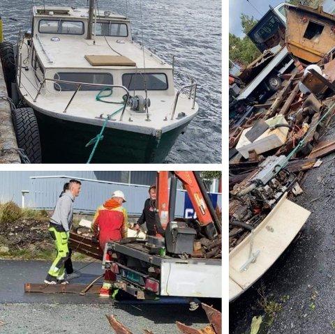 OPPSAGD: Øvst til venstre ser du båten då den enno var heil og låg ved kai i Haugesund. Under ser du karane i gang med å saga den opp, og til høgre ser du korleis båten framstår i dag. (Foto: Privat)