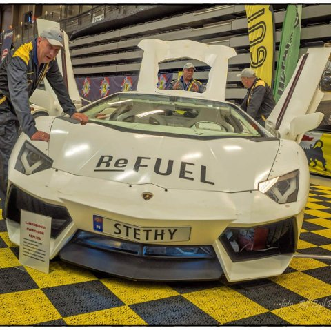 Steinar Thyholdts glis, en ikke helt ferdig Lamborghini Aventador, var trekkplaster på motorshowet på Stjørdal.