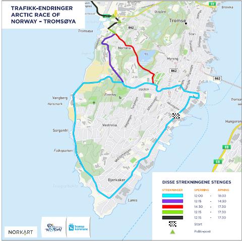 ARCTIC RACE: Trafikken i Tromsø påvirkes kraftig av sykkelrittet.