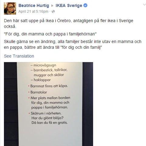 Beatrice reagerte på dette skiltet som hang på IKEA-restaurant i Örebro. SKJERMDUMP: FACEBOOK