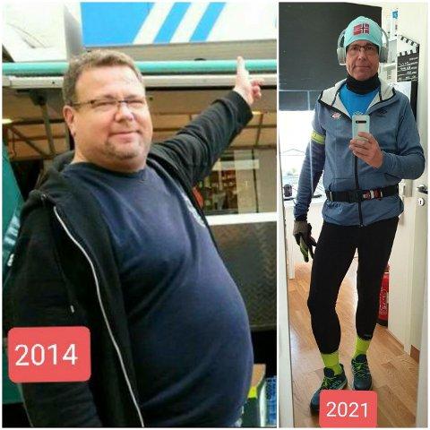 Det er mange som ikke lenger kjenner igjen Erik Engen. Bildet til venstre er fra tiden da Erik gikk tidlig på jobb, spiste en kilo pizza til lunsj, sov midt på dagen og dro på pub klokka to. Bildet til høyre er tatt i år, rett etter at Erik løp sin første halvmaraton.
