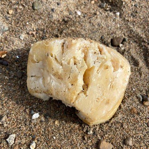 Denne gule, harde klumpen ble funnet på Skiphelle.