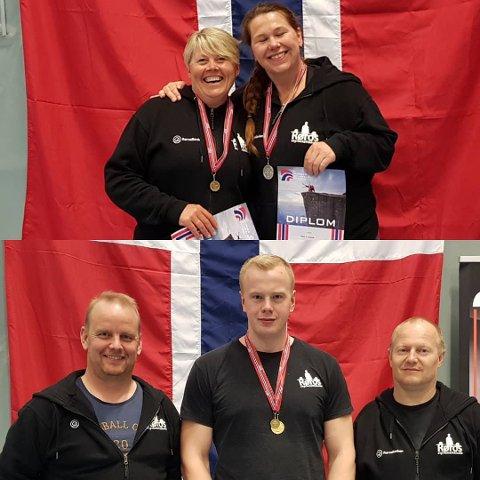 Alltid tilstede: Røros styrkeløfteklubb tok godt for seg av medaljene under NM i helga. Øverst Grete Nessø og Hilde Haavik og under Stein Prestehagen, Anders Brøten Lillemoe og coach og høvding Geir Bedin.