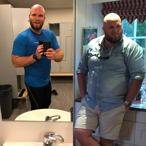 HAR BLITT EN LETTERE UTGAVE: Bildet til venstre viser Stian i februar 2016. Da veide han 170 kg.  To år seinere var vekten nede i 117 kilo.