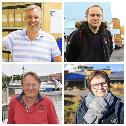 Øverst f.v. Roger Iskow Bach og Roland Nilsen, nederst f.v. Dag Olav Hødnebø og Anne Hudalen er alle blant de 20 i Risør med høyest formue. Arkivfoto