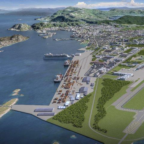 2 Ny by: Forutsetningen for ny by er at rullebanen flyttes en kilometer. I juni neste år gir Stortinget svaret. Skisse: Baezeni