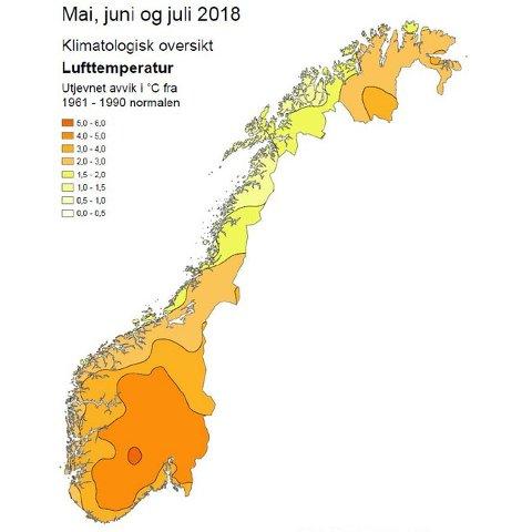 Her ser du kartet over hvor i landet det var varmest sammenlignet med normalen. Jo mørkere oransje, jo mer unormalt varmt var det.