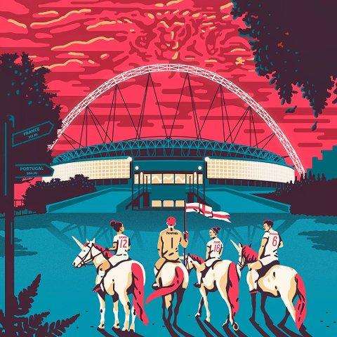 England: Slik ble illustrasjonen seende ut på oppdrag for det engelske fotballforbundet. Illustrasjon: Gundersons AS