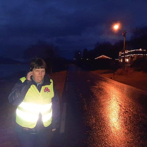 Iført refleksvest står Lill-Anita Vik i veikanten kun et steinkast unna fjæra for å få nødvendig mobildekning på Leines i Steigen.