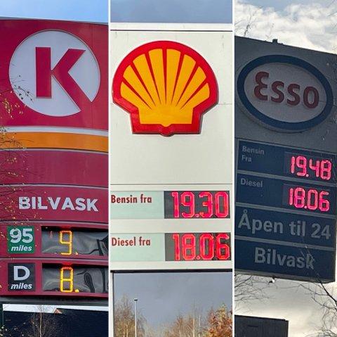 Høye priser: Bildet er tatt tirsdag 12. oktober klokken 14.30 og viser prisene til tre av bensinstasjonene på Fauske. Hos Circle K var prisen 19.30 for bensin og 18.06 for diesel, men det kom ikke fram på bildet. Foto: Michael Jensen Olafsen