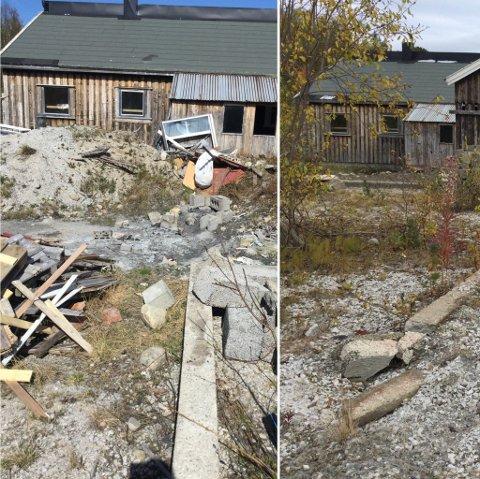 Før og etter: Slik ser det ut på eiendommen med og uten skrot. Partene har vært uenige lenge, men nå er området ryddet.