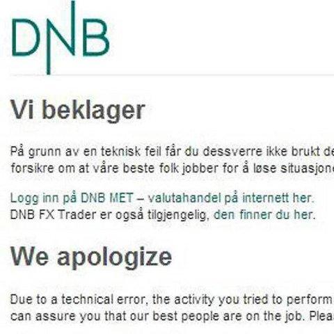 Slik så nettsiden til DNB ut etter dataangrepet i juli i fjor. Også en rekke andre virksomheters nettsider lå nede etter angrepet.