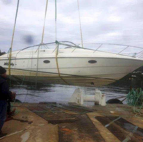 Cabincruiseren, en 32-fots Windy Grand Tornado, blir heist opp fra Lekvenfjorden. Nå får vraket nytt liv takket være to private båtentusiaster.