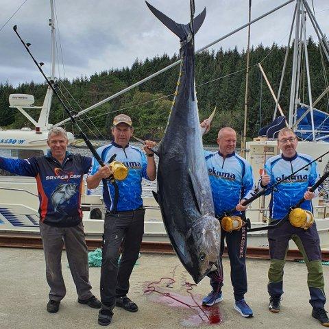 (F.v) Tore Gismervik, Frank Solheim, Stig Yri og Aksel Larsen er her strålende fornøyd etter å ha kapret en makrellstørje på 216 kg tirsdag.