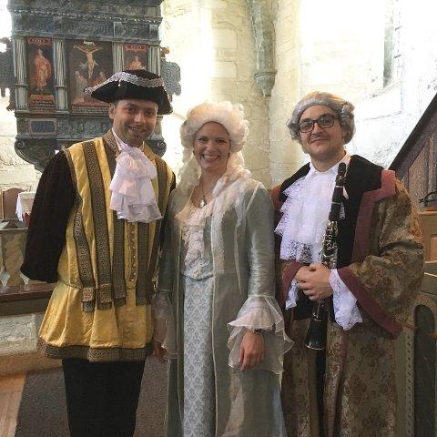 Milan Rabrenovic (fra venstre), Astrid Kallenbach-Gustavson og Nino Felbab utgjør trioen som søndag opptrer i Utstein kloster kirke.