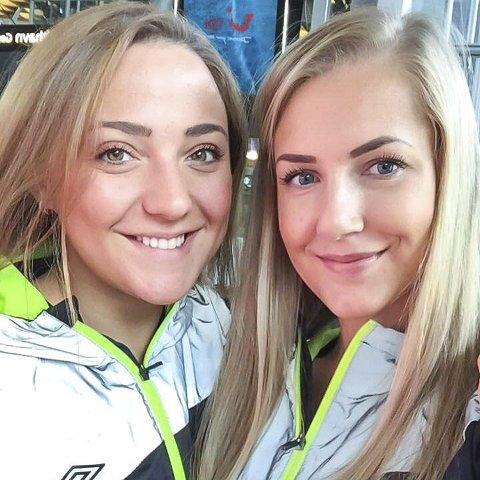 KLARE FOR MATCH: Jovana Dasic (t.v.) og Marte Marie Varlo på Gardermoen i forkant av gårsdagens cupkamp mellom Follo og Bodø.Foto: Privat