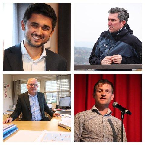 VIL SAMARBEIDA: Dalane-ordførarane er samstemde om kva som må gjerast for å snu utviklinga. Øvst frå venstre med klokka: Jonas Andersen Sayed (Sokndal), Odd Stangeland (Eigersund), Kjetil Slettebø (Bjerkreim) og Hogne Skjerpe (Lund).