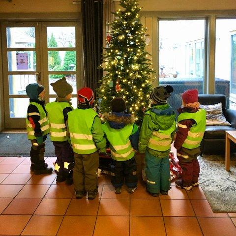 GAVMILDE GJESTER: Det ensomme treet på Tollboden fikk to barnehagebesøk i år. Ungene kom med gaver og sang.