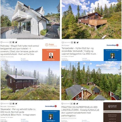 DYRT - OG BILLIG: Hytta øverst til venstre ligger i Holmsbu og koster over sju millioner kroner. Til sammenligning koster de tre andre hyttene under tre millioner kroner - til sammen. Faksimile: Finn.no
