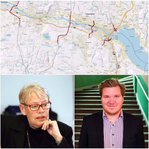 ENIGE: De to gruppelederne Tove Paule (H) og Eivind Knudsen (Ap) vil legge fram et nytt forslag for bypakke Drammen i formiddag.