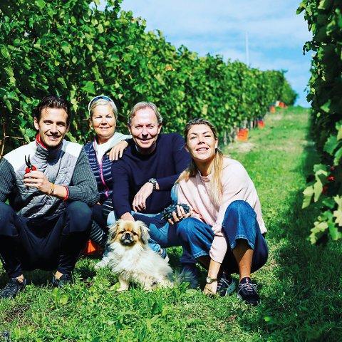 VINGÅRD OG HOTELL: Familien Lyhus har investert over 50 millioner i vingård og hotell i Piemonte i Nord-Italia. Fra venstre Haakon Christensen, Helle Lyhus, Vidar Lyhus og Lisette Lyhus. Foto: Privat