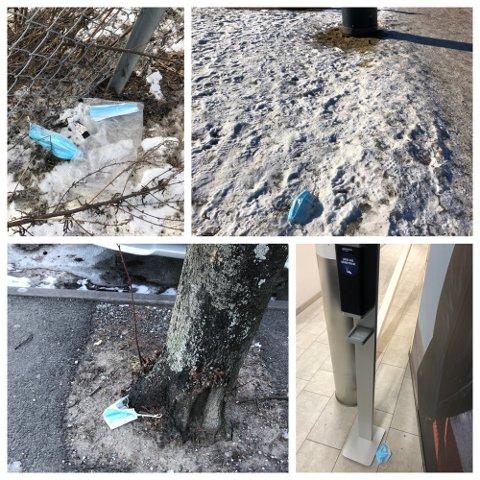 FEIL STED: En innbygger irriterer seg over munnbind som er kastet på bakken ulike steder. Her noen av bildene han tok på en kort runde i byen en lørdag i februar.
