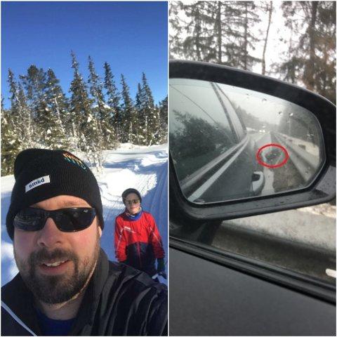 SKREMMENDE: Ronny Aasmundseth (38) og familien fikk en skremmende opplevelse da de kjørte gjennom Drammen på vei til hytta i helga. Det ene dekket falt helt av etter at de kjørte over det de mener var et stort hull i veien. Her er Ronny sammen med sønnen Leander Tveter Aasmundseth.