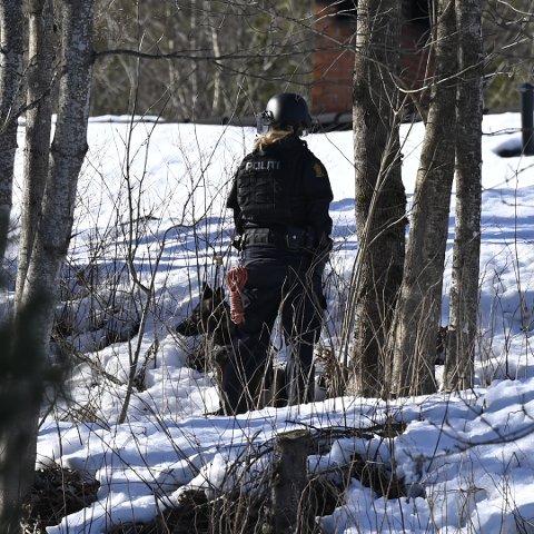 POLITIAKSJON: Flere politipatruljer aksjonerer fredag ettermiddag mot en privatbolig i Lier.
