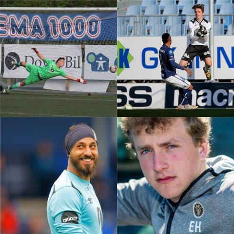 MÅLVAKTER: Idar Lysgård, Sosha Makani og Erik Hejer er MIFs nåværende sisteskanser. Klubben signerer nå Thomas Kinn (oppe til høyre) på en langtidskontrakt.