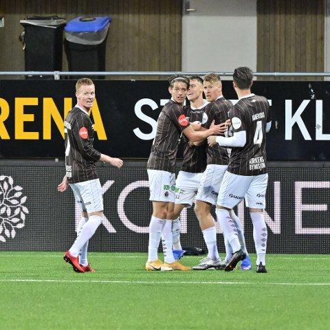 MÅL: Det endte uavgjort mellom Mjøndalen og Sandefjord. Markus Nakkim scoret for hjemmelaget.
