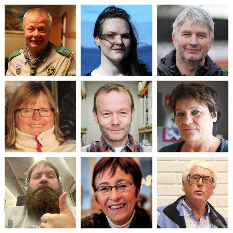 TILFELDIG UTVAL: Eit knippe av dei forslaga vi har fått inn til no: Rune Rasmussen, Oda Alisøy, Terje Rognsø, Laila Schønhardt, Espen Lothe, Wenche Hovland, Tage Herstad, Bente Frøyen Steindal og Ole Stenbakk.