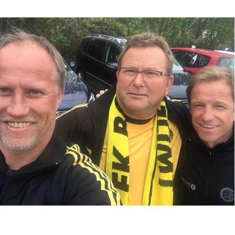 STORFINT BESØK: Her er Ole Eilertsen med Glimt-legendene Runar og Ørjan Berg.